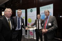 From left: Bernd Gohlke (Metsa Board) with Klaus Wolf, Stefan Müller and Wilfried Schmahl, all Mayr-Melnhof Packaging.