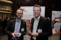 Digital natives: Michael Meyer (left) and Jan Sander, both mychoco GmbH, at the sponsor's booth of DS Smith.